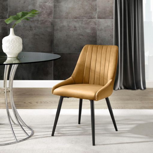 Tapicerowane krzesła w odcieniach złota - 2 sztuki