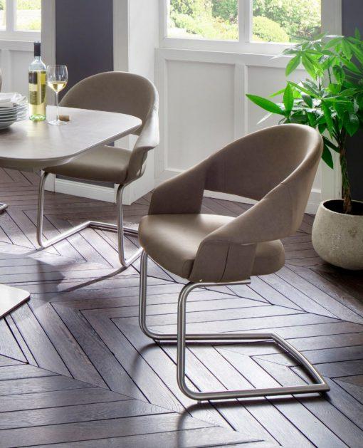 Krzesła w nowoczesnym stylu, sztuczna skóra, taupe - 2 sztuki