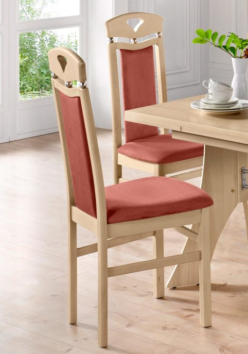 Drewniane stylowe krzesła z ozdobną kulką 2 sztuki