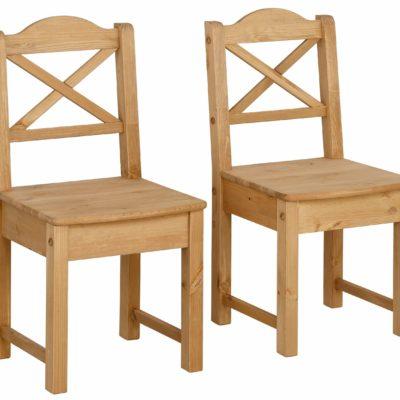 Wysokiej jakości sosnowe krzesła w ponadczasowym stylu - 2 sztuki