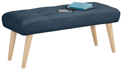 Tapicerowana ławka w prostym stylu, granat