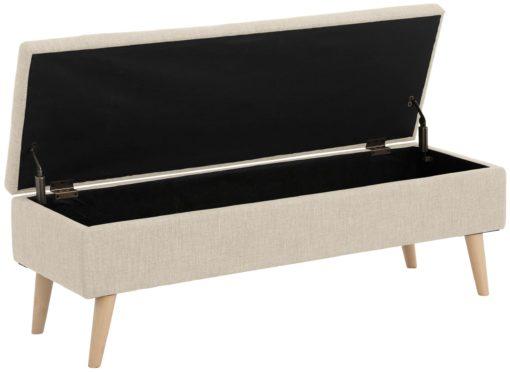 Stylowa, tapicerowana ławka ze schowkiem - kremowa
