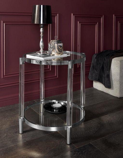 Okrągły stolik ze srebrną ramą i szklanym blatem