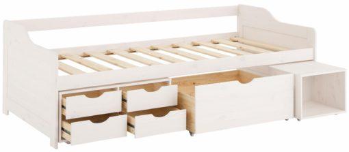 Sosnowe łóżko z szufladami, białe nowoczesne