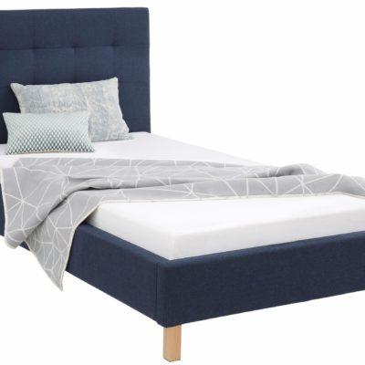 Tapicerowane łóżko 140x200 cm w kolorze niebieskim