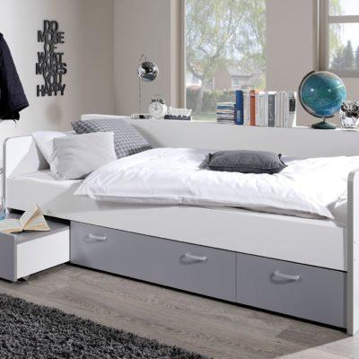 Łóżko funkcyjne 90x200 cm z szufladami, biel-szary