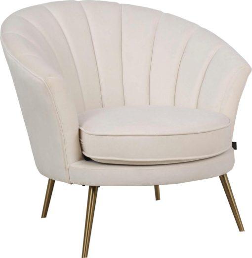 Kremowy fotel w kształcie muszli, złote nogi, HIT