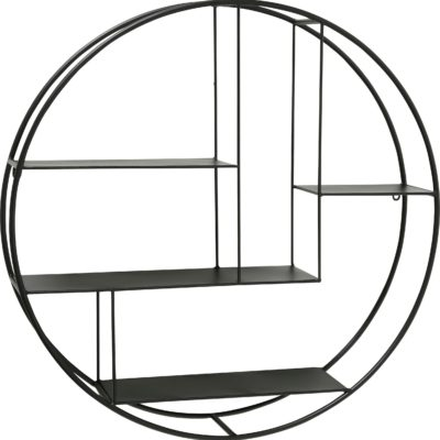 Okrągła półka ścienna, czarna, metalowa