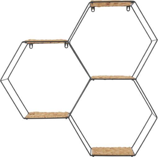 Ciekawa półka w kształcie sześciokąta, metal i hiacynt wodny