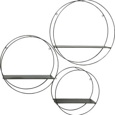 Zestaw trzech okrągłych półek z metalu, czarne