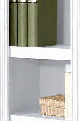 Sosnowy regał biały, 5 półek, frezowane boki, 126 cm