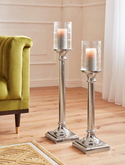 Dekoracyjny świecznik z aluminium, duży, glamour
