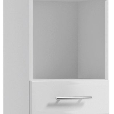 Wąska szafka łazienkowa słupek, biała front w połysku