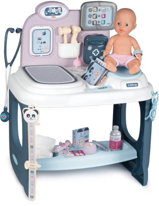 Baby Care Center Smoby, lalka, stół i akcesoria
