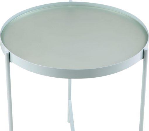 Stolik kawowy miętowy, metalowy, minimalistyczny styl