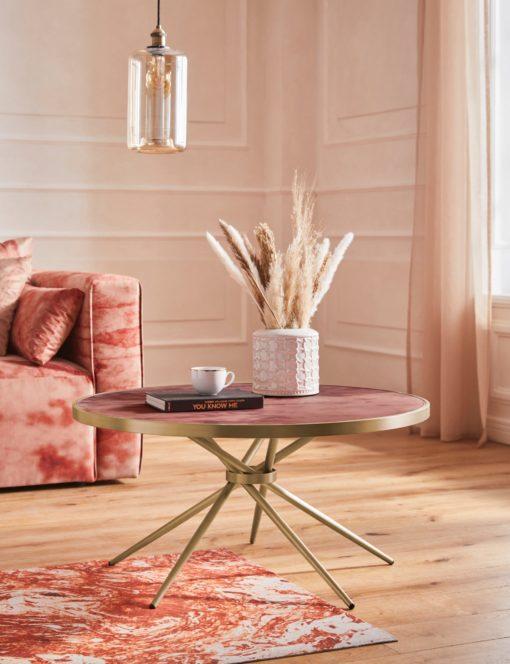 Złoty stolik o nowoczesnym designie, duży, blat czerwony