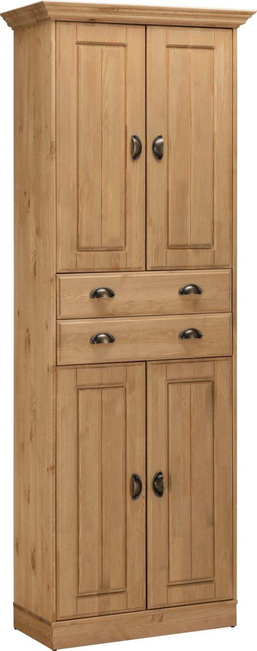 Wysoka sosnowa szafka z czterema drzwiami i szufladą