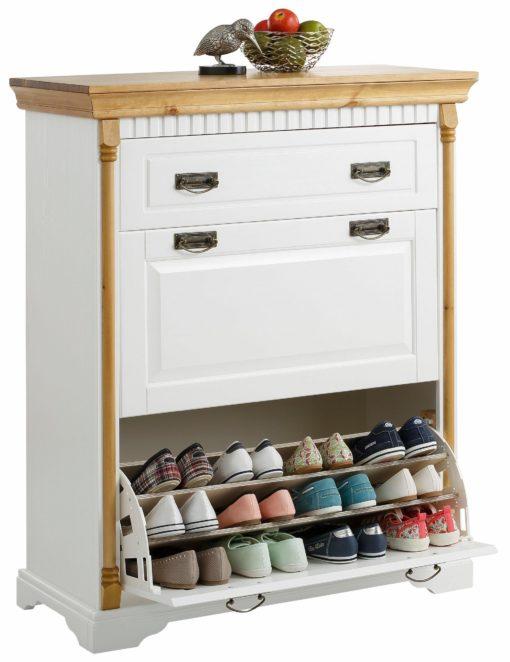 Bogato zaprojektowana szafka na buty biało-miodowa