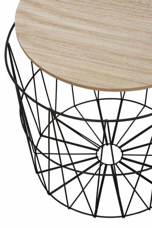Stolik z metalową ażurową ramą i blatem a'la drewno