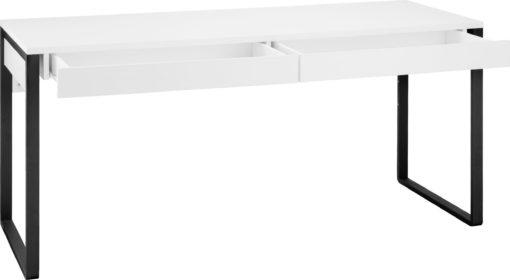 Biurko w industrialnym stylu biało-czarne, 2 szuflady
