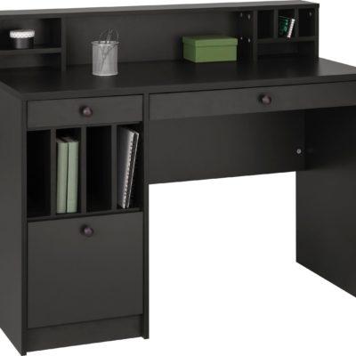 Grafitowe biurko z praktycznymi przegrodami do przechowywania