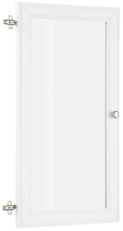 Białe drzwi z wstawką z białego szkła, z zawiasami