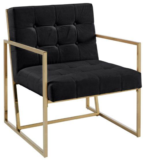 Ekskluzywny, pikowany fotel ze złotą ramą, czarny