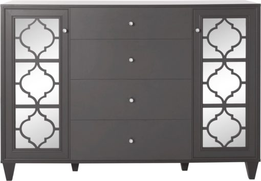 Komoda w orientalnym stylu, antracytowa, 4 szuflady i drzwi