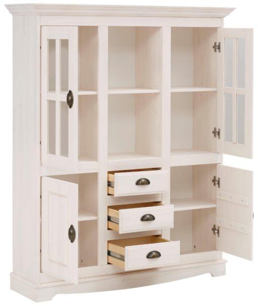 Sosnowy kredens biały, styl rustykalny, 4 drzwi