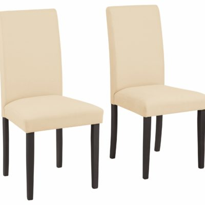 Beżowe, proste krzesła - 4 sztuki, nogi ciemne
