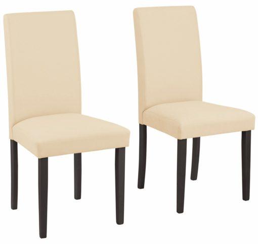 Beżowe, proste krzesła - 6 sztuk, nogi ciemne