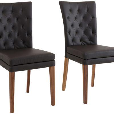 Smukłe krzesła z tapicerowanym oparciem, nogi orzech - 2 sztuki
