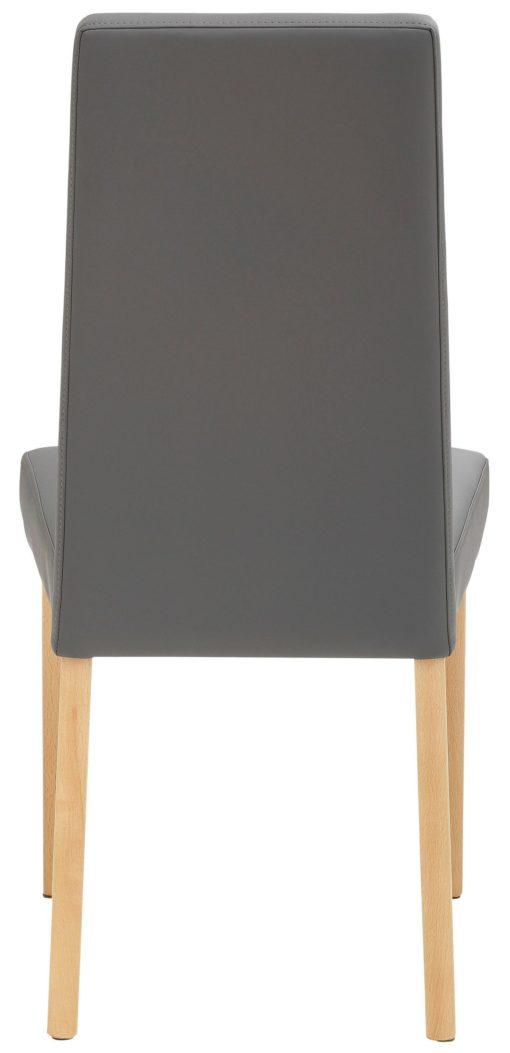 Klasyczne szare krzesła z imitacji skóry, bukowe - 2 sztuki