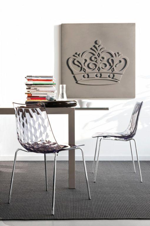 Nowoczesne przezroczyste krzesła na metalowych nogach - 2 sztuki