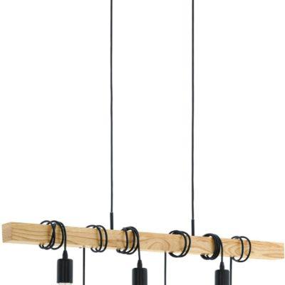 Lampa wisząca w industrialnym stylu, sosnowa belka