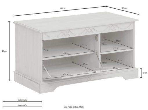 Gustowna, sosnowa ławka ze schowkiem, biała
