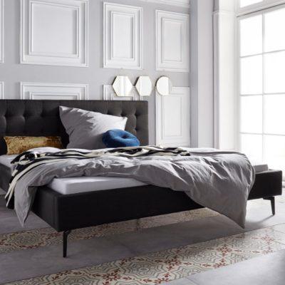 Szlachetne, tapicerowane łóżko, czarne 140x200 cm