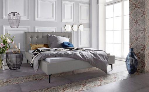 Szlachetne, tapicerowane łóżko, szare 160x200 cm