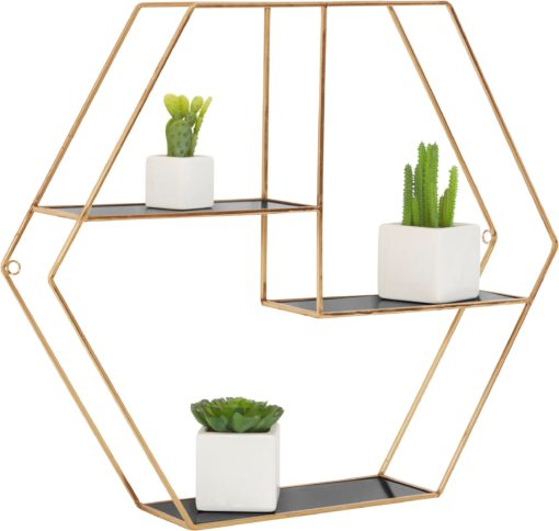 Złota geometryczna półka hexagon, czarne półki