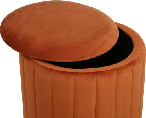 Elegancki puff ze schowkiem w modnej kolorystyce, terracotta