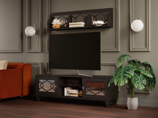 Szafka pod telewizor w orientalnym stylu, antracytowa