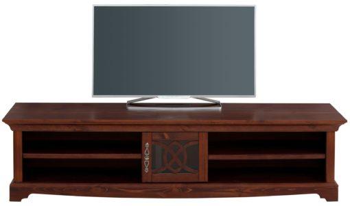 Duża sosnowa szafka rtv, ciemnobrązowa, 180 cm