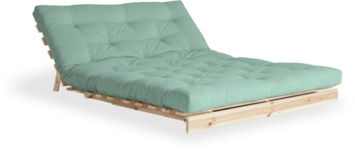 Nowoczesna kanapa z materacem futon 140 cm, miętowa