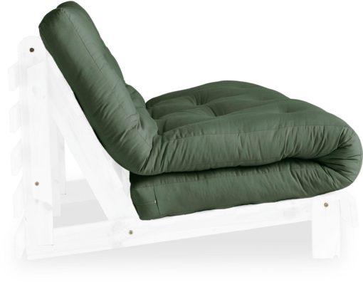 Nowoczesna kanapa z materacem futon 140 cm, oliwkowa
