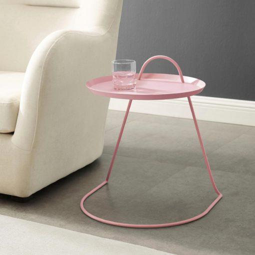 Lekki metalowy stolik boczny, różowy, skandynawski