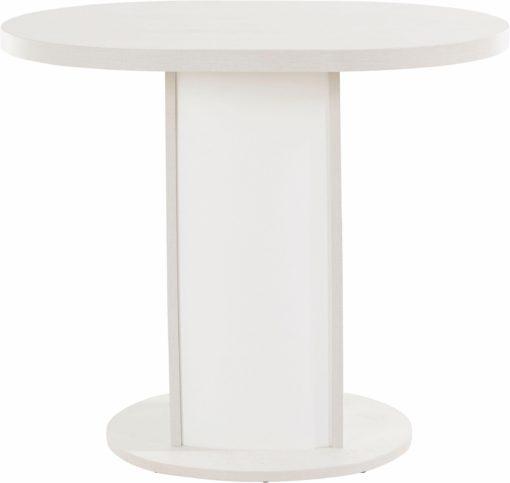 Owalny stół o prostym wyglądzie, bielona sosna