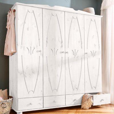 Czterodrzwiowa, zdobiona szafa z drewna sosnowego, biała
