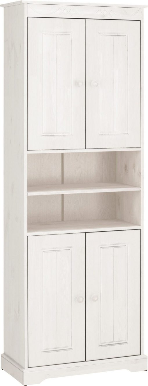Wysoka szafka z drewna sosnowego, duża ilość miejsca, biała