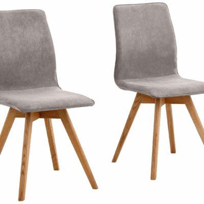 Szare krzesła, nogi dębowe typu krzyżak - 4 sztuki