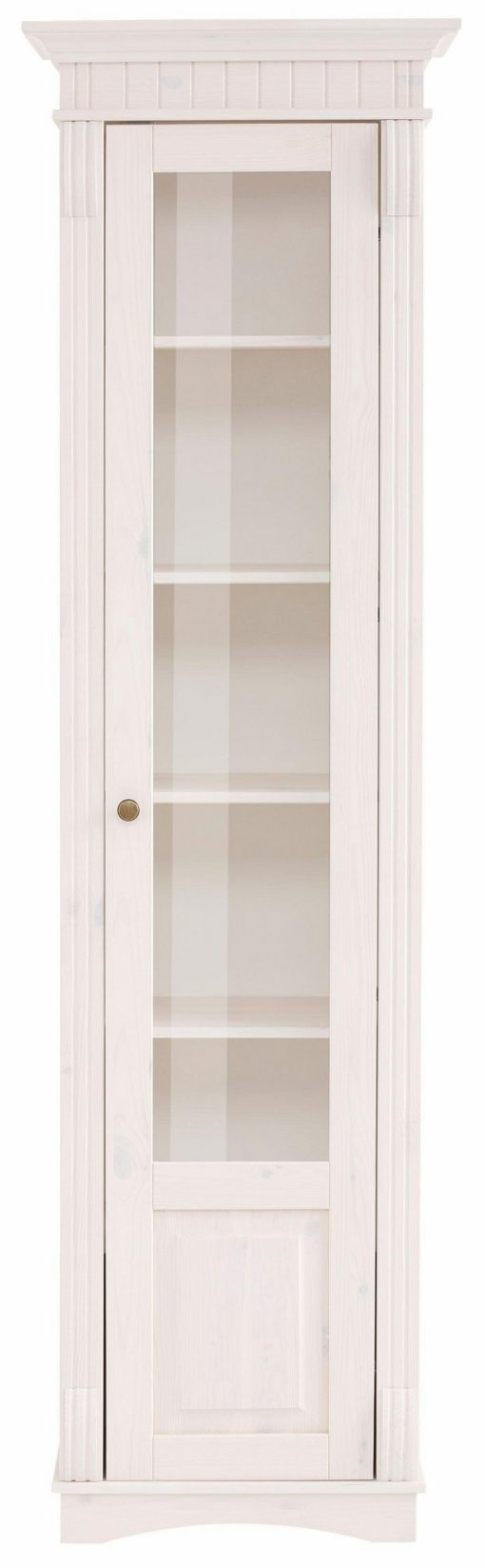 Pięknie zdobiona witryna z drewna sosnowego, biała